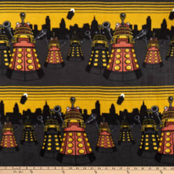 BBC Doctor Who Fleece City Scene Mustard Fabric