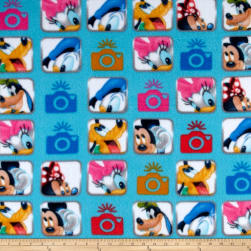 Disney Fleece Mickey and Friends Camera Blue Fabric