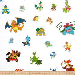 Poke'mon Character Collage Multi Fabric