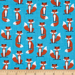 Kaufman Fabulous Foxes Small Foxes Blue