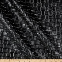 Faux Leather Basketweave Black Fabric