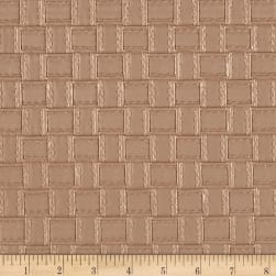Faux Leather Basketweave Beige Fabric