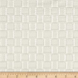 Faux Leather Basketweave White Fabric