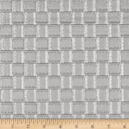 Faux Leather Basketweave Silver Fabric