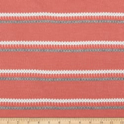 Sweater Knit Stripe Coral/Grey/White