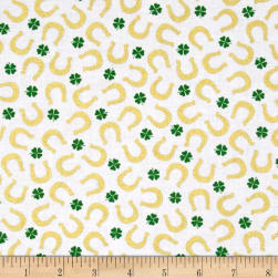 Kanvas Lucky Clovers Metallic Lucky Horseshoe White Fabric
