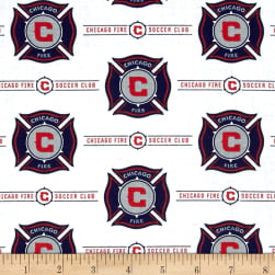 MLS Cotton Broadcloth Chicago Fire White