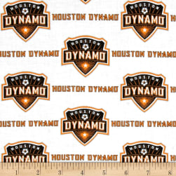 MLS Cotton Broadcloth Houston Dynamo White Fabric