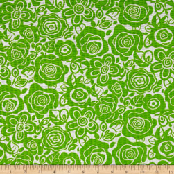 Tutti Fruitti Plisse Flowers Lime Fabric
