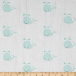 Riley Blake Double Gauze Whale Aqua Fabric