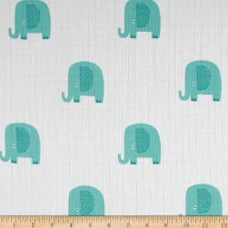 Riley Blake Double Gauze Elephant Aqua Fabric