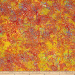 Island Batik Paisley Orange/Red Fabric