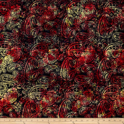 Island Batik Paisley Dark Blue/Red