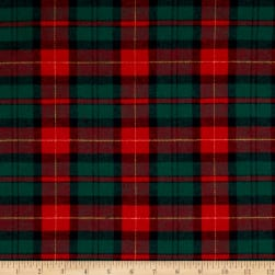 Yarn Dyed Flannel Plaid Hunter/Wine Fabric