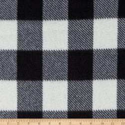 Fleece Buffalo Plaid Print Black/White Fabric