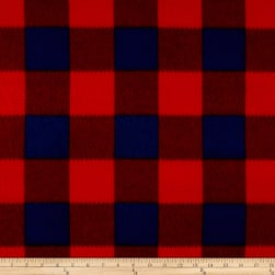 Fleece Buffalo Plaid Print Navy/Red Fabric