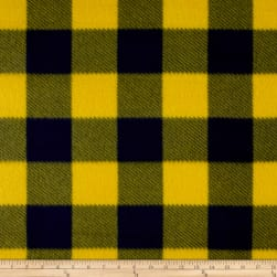 Fleece Buffalo Plaid Print Navy/Maize Fabric
