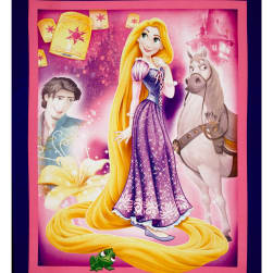 Disney Princess Rapunzel Panel Pink Fabric