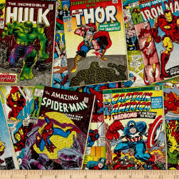 Marvel Retro Comics Covers Multi Fabric