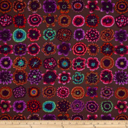 Kaffe Fassett Collective Button Flowers Prune Fabric