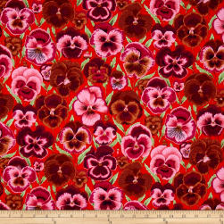 Kaffe Fassett Collective Pansies Orange Fabric