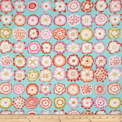 Kaffe Fassett Collective Button Flowers Aqua Fabric