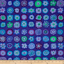 Kaffe Fassett Collective Button Flowers Purple Fabric