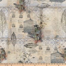 Tim Holtz Eclectic Elements Wallflower Menagerie Blue Fabric