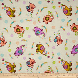 Flannel Elephant Party Fabric