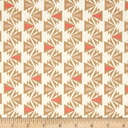 Kaufman Fragmental Aztec Stripe Salmon Fabric
