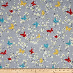Michael Miller Sea Holly Butterfly Blossoms Gray Fabric