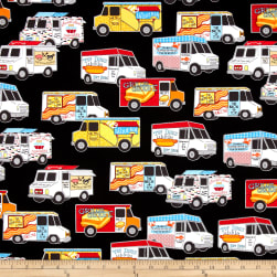 Kaufman Food Trucks Black Fabric