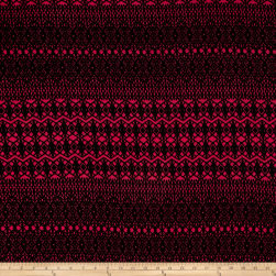 Sweater Knit Abstract Medallion Hot Pink