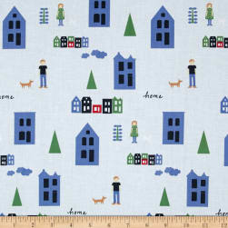 Neighborhood Houses Light Blue Fabric