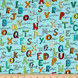 Animal ABC's Alphabet Words Turquoise Fabric
