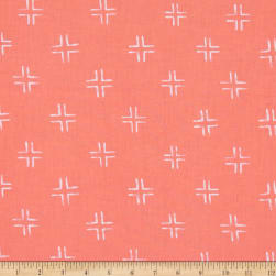 Cloud 9 Organic Brush Strokes Trellis Coral Fabric