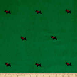 Kaufman Embroidered Corduroy 21 Wale Scotties Kelly Fabric