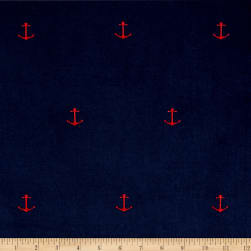 Kaufman Embroidered Corduroy 21 Wale Anchors Navy Fabric