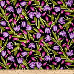 Kanvas Bloom With A View Tulips Purple/Fuchsia Fabric