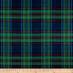 Fleece Plaid Navy/Green Fabric