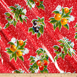 Oilcloth Summer Fruit Red Fabric