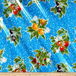 Oilcloth Summer Fruit Blue Fabric