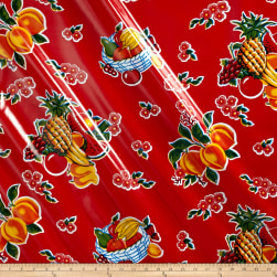 Oilcloth Cane Red Fabric