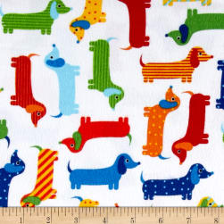 Kaufman Urban Zoologie Flannel Weiner Dogs Bright