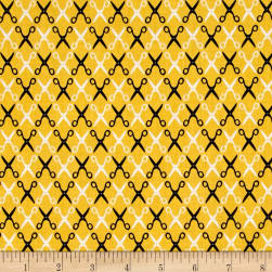 Kaufman Sewing Studio 2 Scissors Trellis Yellow