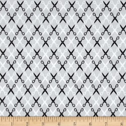 Kaufman Sewing Studio 2 Scissors Trellis Grey Fabric