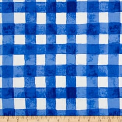 Michael Miller Sommer Painted Gingham Blueberry Fabric