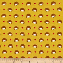 Michael Miller Fox Woods Hedgehog Heaven Olive Fabric