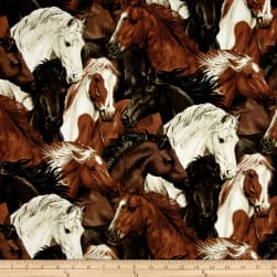 Run Free Stacked Horses Ecru Fabric