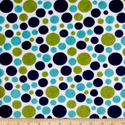 Shannon Minky Cuddle Bubble Dot Midnight/Kiwi Fabric